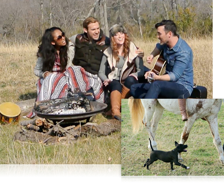two photos of young adults in a field around a campfire with instruments