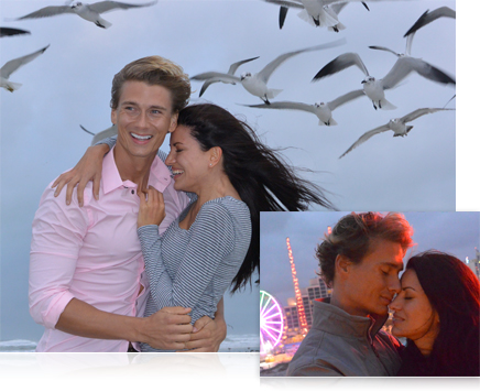 two photos, one of a man and woman with seagulls in the air behind them and another of them leaning against one another
