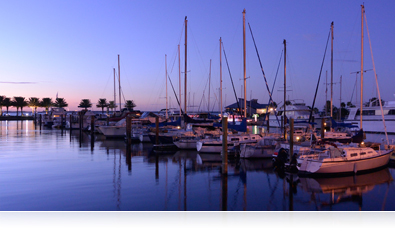 photo of sailboats in a marina in low light