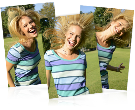 three photos of a blonde woman shaking her hair in a park