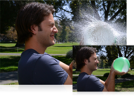 photos of a man holding a water balloon and of the water balloon popping and spraying him with water