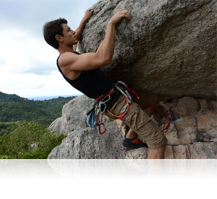 Photo of a rock climber shot with the 1 NIKKOR AW 10mm f/2.8 lens