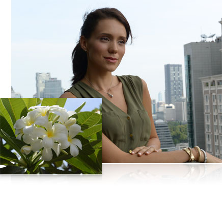 Photo of a woman on a city balcony, inset with a closeup of a flower, shot using the 1 NIKKOR AW 11-27.5mm f/3.5-5.6 lens