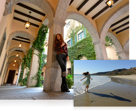 photo of a woman leaning against a pillar of a building and photo of a woman in the surf at the beach wearing a dress