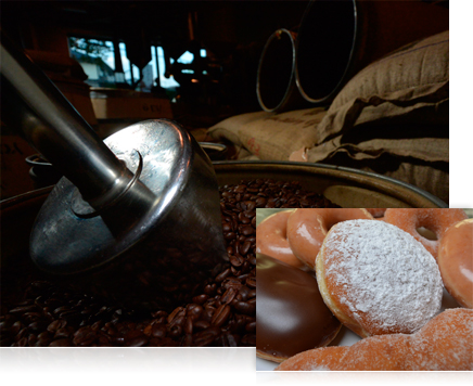 photo of coffee beans in warehouse and closeup photo of donuts