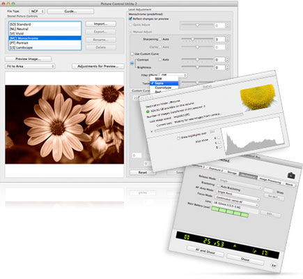 Screenshots of the new Picture Control Utility 2 and Camera Control Pro 2 software screens