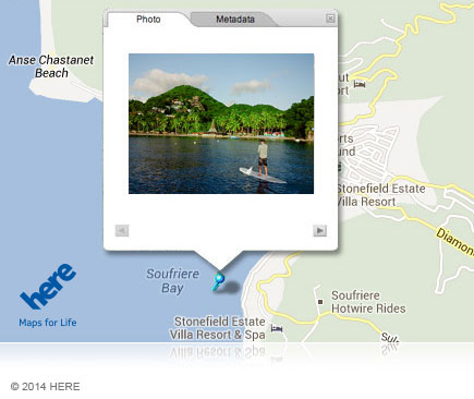 Photo of a paddleboarder with the GPS icon showing GPS functionality