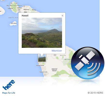 COOLPIX P900 photo of the Hawaii jungle on a map and the GPS icon inset