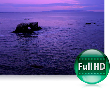 Low light photo of a seascape with the Full HD video icon
