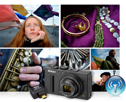 photos of a redheaded woman, closeup of jewelry, musician's hands on a sax, harmonicas and candid portraits with the COOLPIX A, WU-1a and Wi-Fi graphic