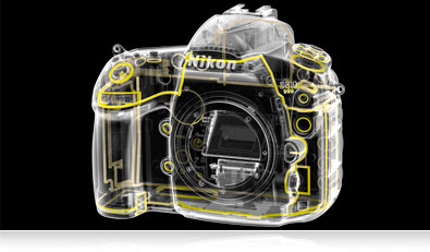 Graphic overlay of weather and dust sealing of the D810 camera body