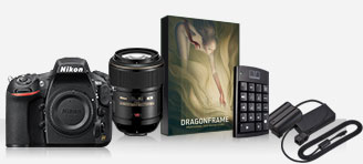 Product images of the D810, Micro-NIKKOR lens, Dragonframe software box and keypad controller and EH-5b and EP-5b accessories