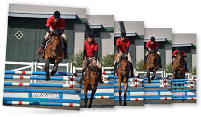 sequence of photos of a rider on a horse jumping over a fence on a show course