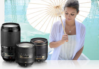 photo of a woman and paper umbrella with three product photos of NIKKOR lenses