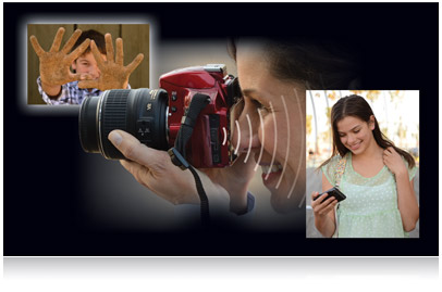 Composite of photos of woman holding red D3200, boy showing off sandy hands and girl looking at smartphone