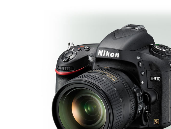 Product shot of the Nikon D610 D-SLR camera