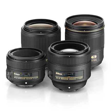 Product shots of the NIKKOR f/1.8 lens collection