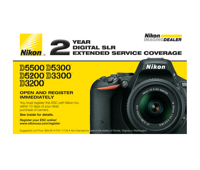 Photo of  D5500, D5300, D5200, D3300, D3200 Extended Service Coverage (2 Years)