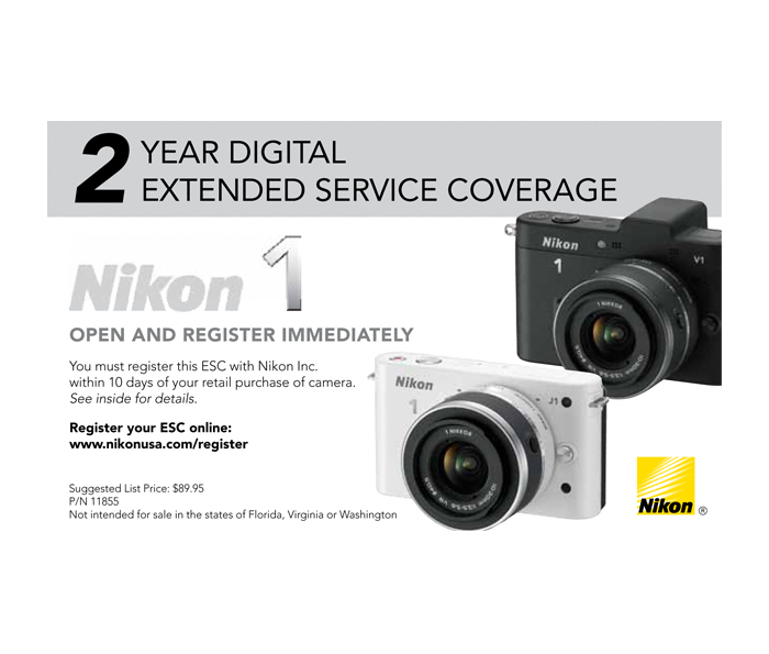 Photo of  Extended Service Coverage (2 Years) for Nikon 1 cameras