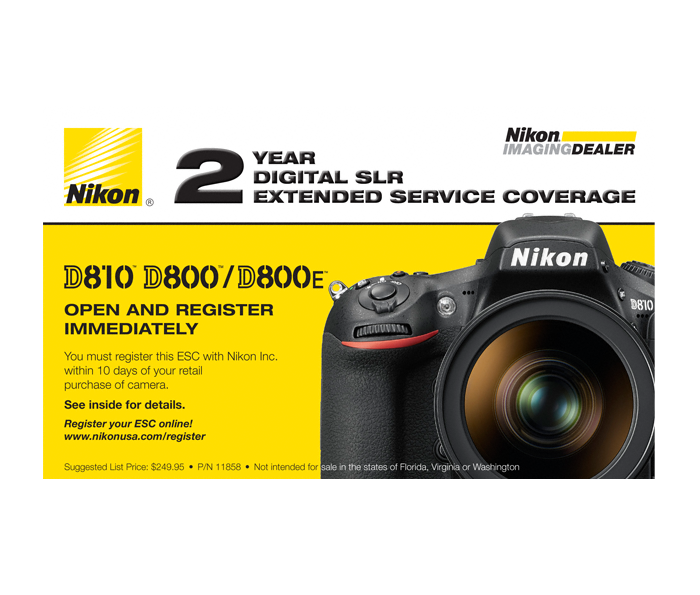 Photo of  D800, D810, D810A Extended Service Coverage (2 Years)