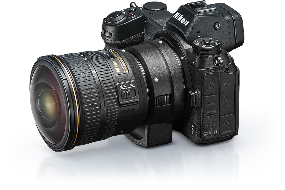 product photo of the Z 7, Mount Adapter FTZ and the F-mount NIKKOR 8-15mm fisheye zoom lens