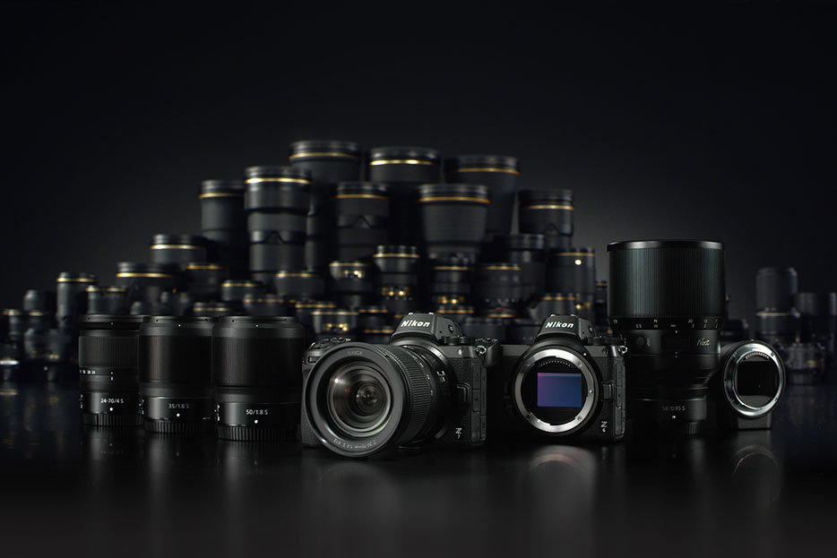 Family shot of the Z 7 and Z 6, Mount Adapter FTZ, NIKKOR Z lenses and F-mount NIKKOR lenses