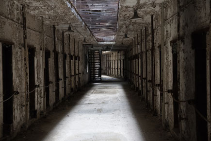 photo of a corridor at Eastern State Penitentiary historic site