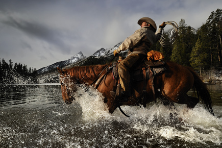 Dave Black photo of a cowboy on horseback in a river