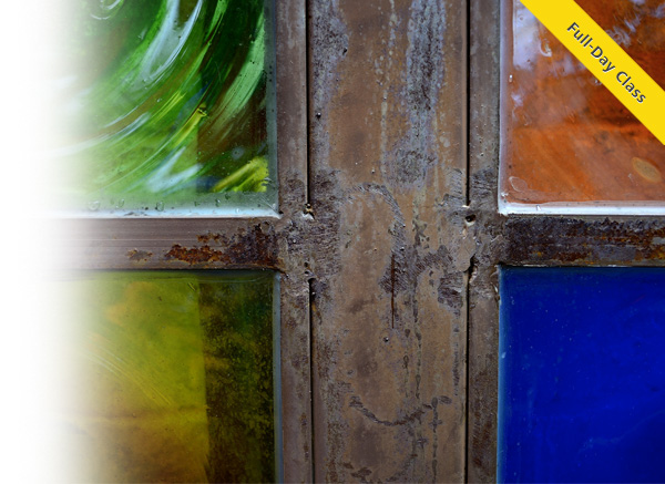 Photo of a colorful four pane window