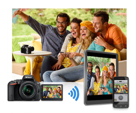 Photo of people in front of a camera, with the image on the LCD, smartphone and tablet, highlighting connectivity