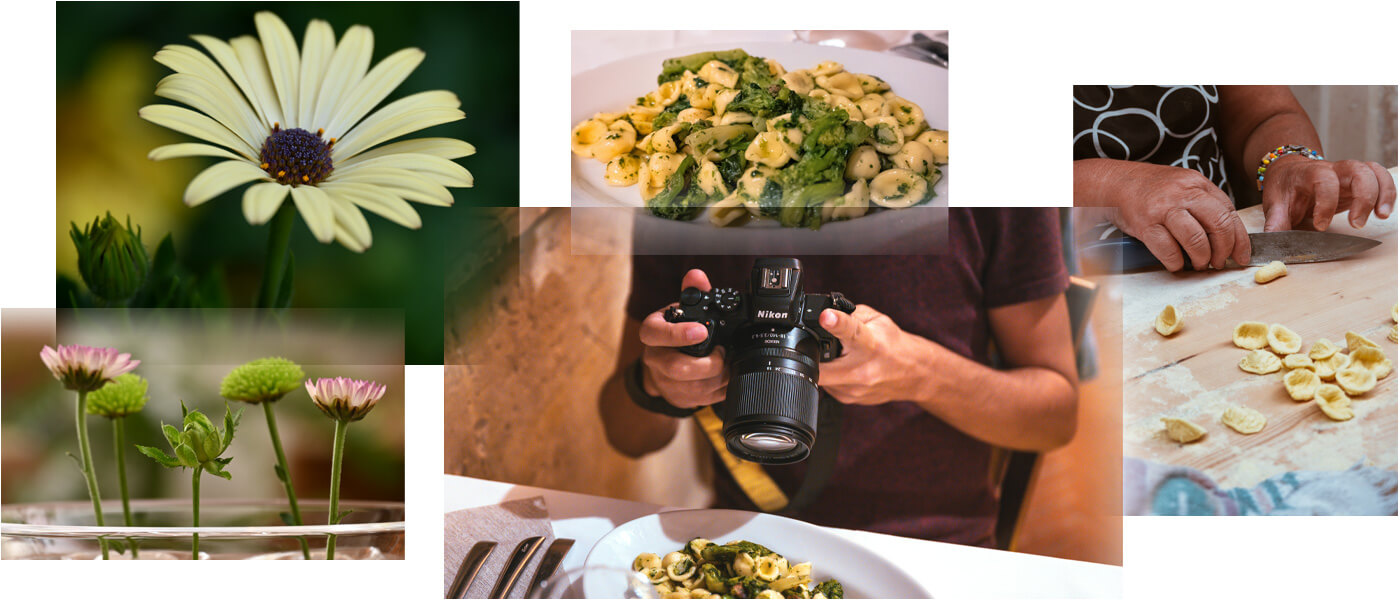 collage of images of flowers and food and a person shooting food, taken with the NIKKOR Z DX 18-140mm f/3.5-6.3 VR lens