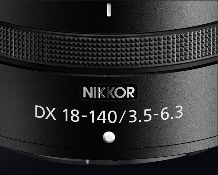 close up of the lens barrel of the NIKKOR Z DX 18-140mm f/3.5-6.3 VR lens