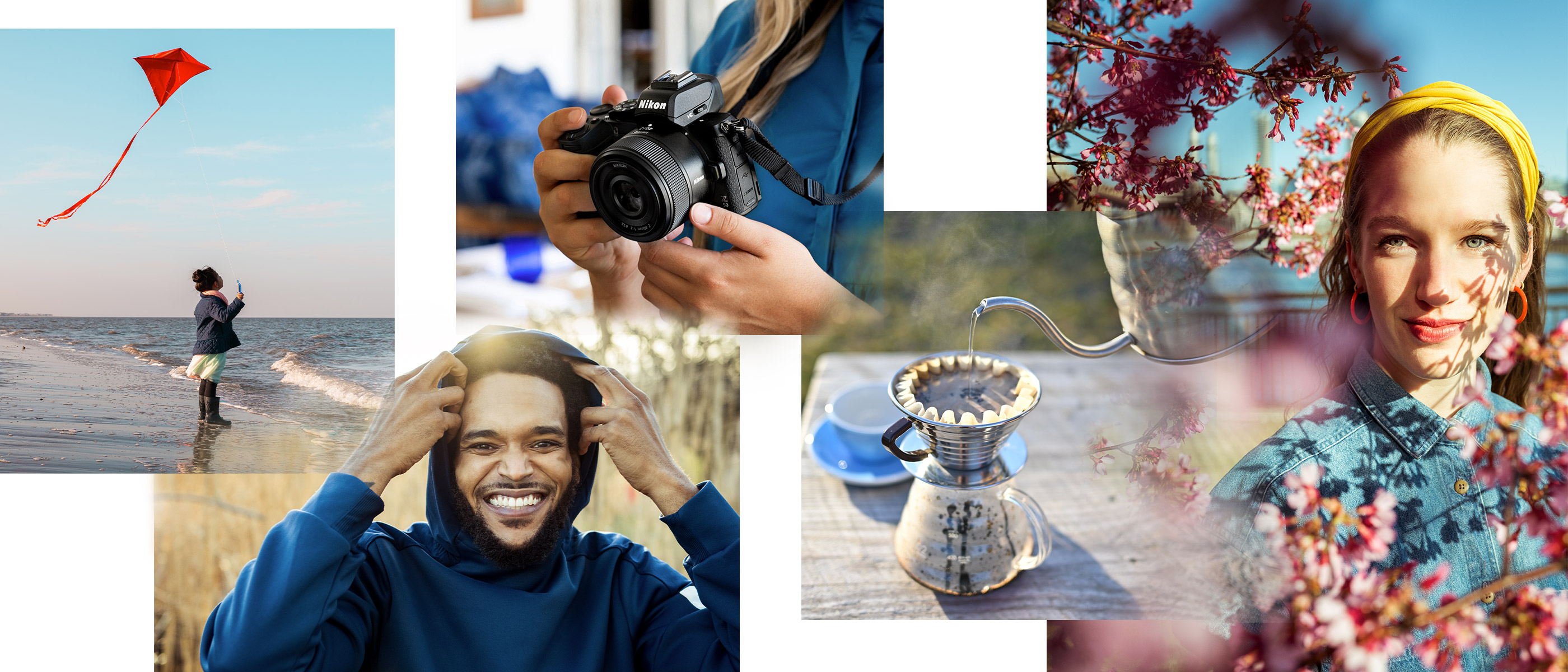 Collage of images taken with the NIKKOR Z 40mm f/2 including portraits, still life and a person holding a Z camera and lens
