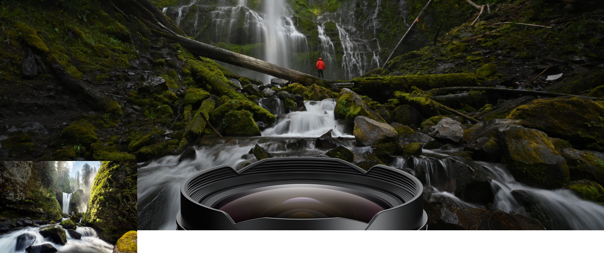 Photo of a person in a forest, inset with another image of a waterfall, both taken with the NIKKOR Z 14-24mm f/2.8 S lens.