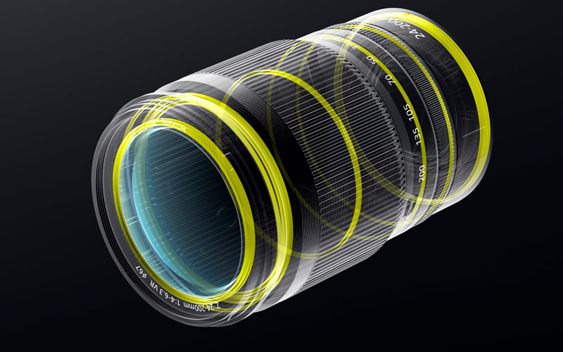 rendering of the NIKKOR Z 24-200mm f/4-6.3 VR and its dust and drip seals
