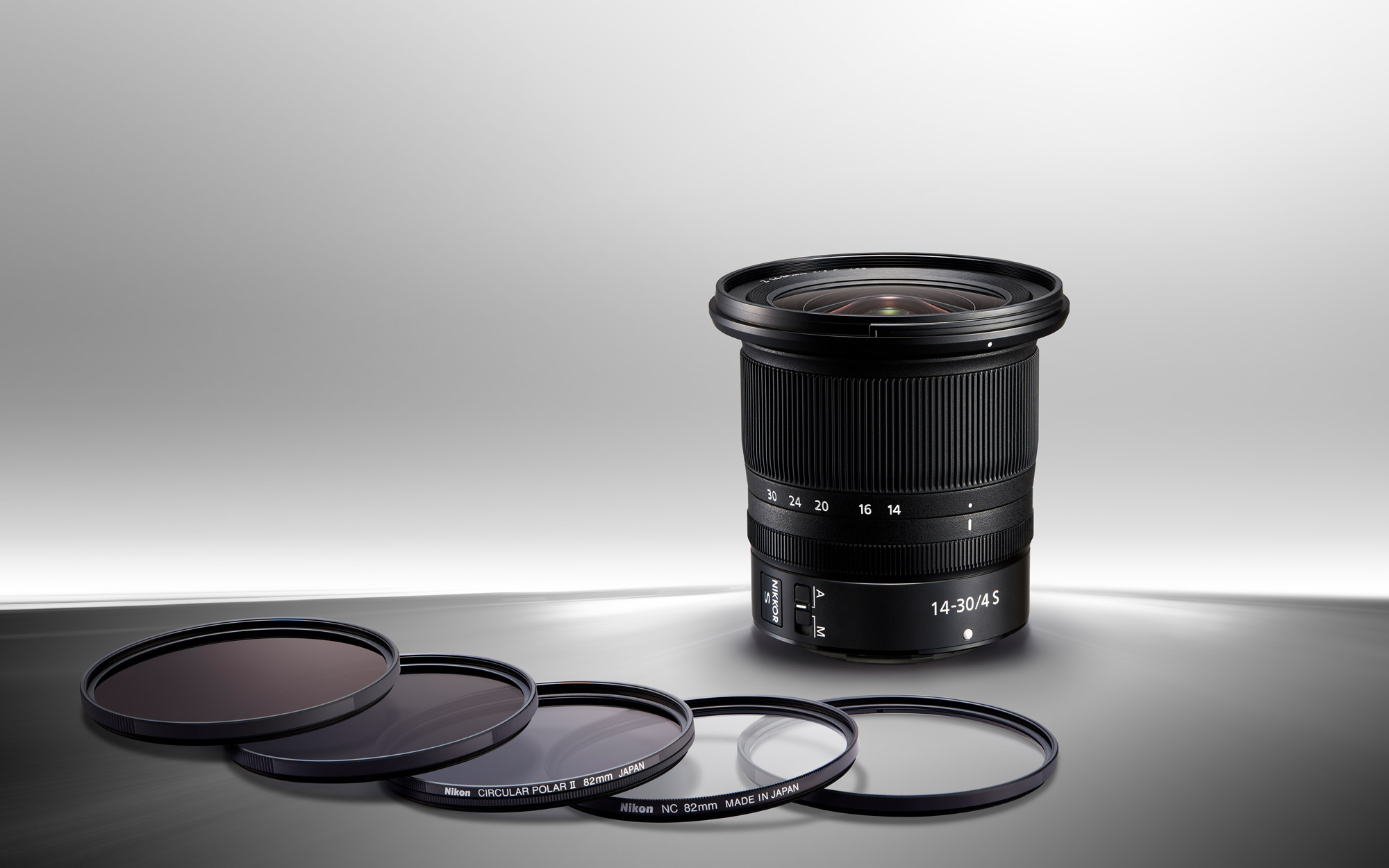 photo of the NIKKOR Z 14-30mm f/4 S and filters