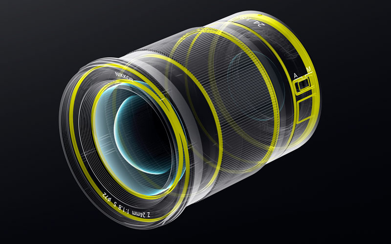 line art of the dust and drip seals of the NIKKOR Z 24mm f/1.8 S lens