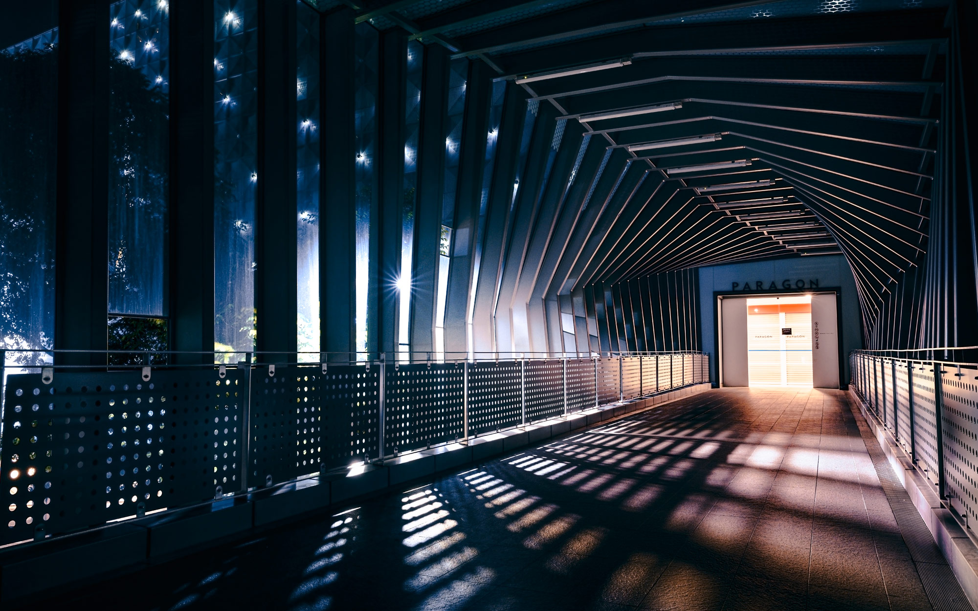 Photo of a covered walkway, taken with the NIKKOR Z 24mm f/1.8 S lens