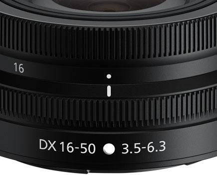 close up of the lens barrel of the NIKKOR Z DX 16-50mm f/3.5-6.3 VR lens