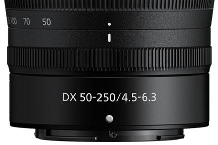 NIKKOR Z DX 50-250mm f / 4.5-6.3 VR lensin lens varilinin yukarısı