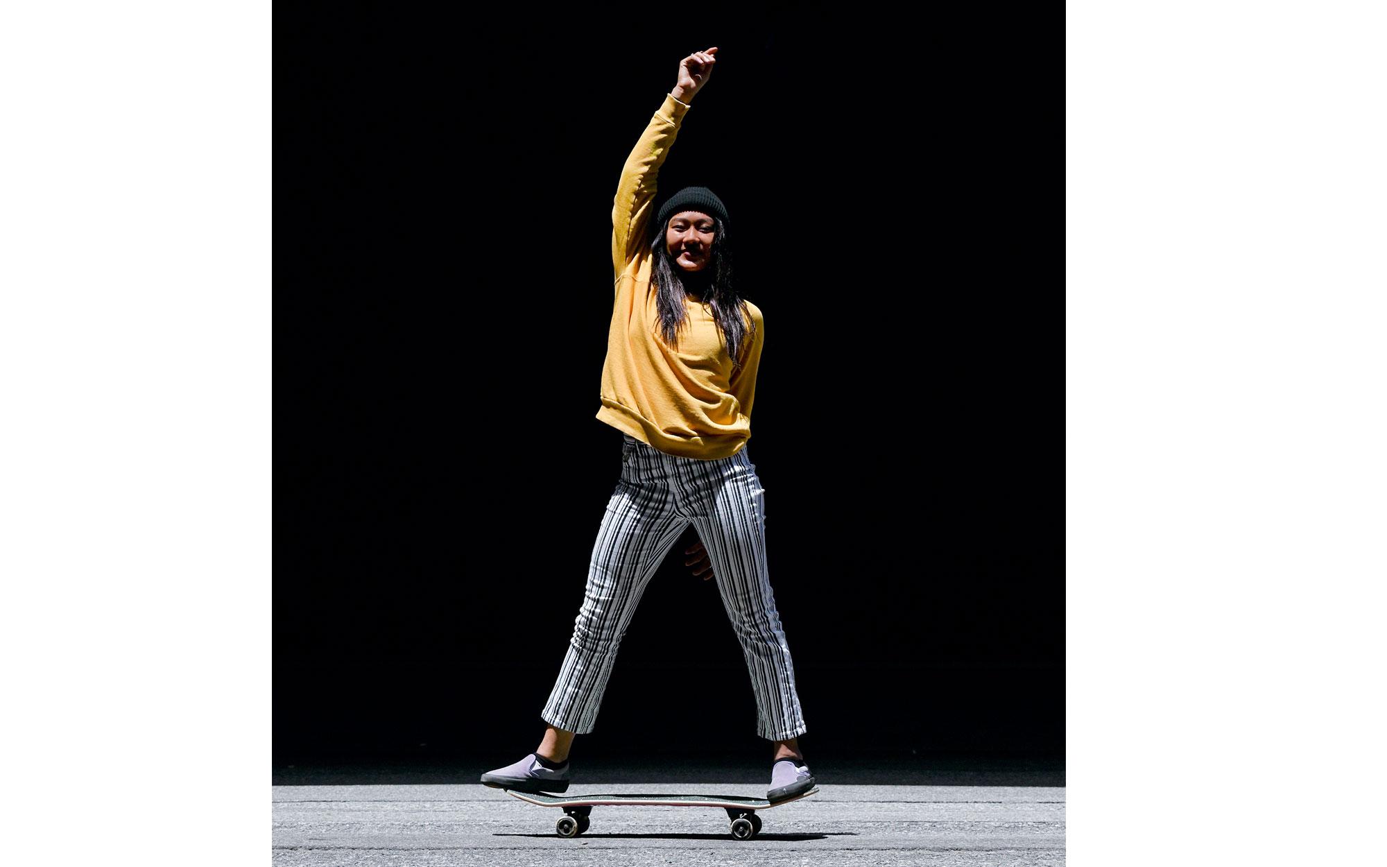 Z 50 and NIKKOR Z DX 50-250mm f/4.5-6.3 VR photo of a woman on a skateboard