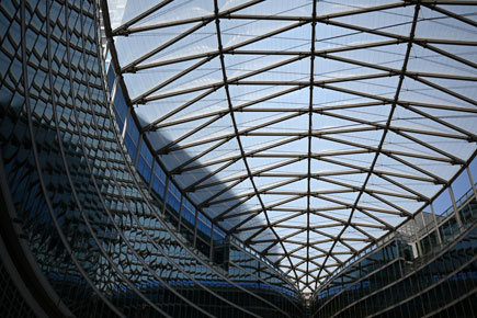 Architectural photo of a building's glass ceiling taken with the Z 7 and NIKKOR Z 35mm f/1.8 S lens
