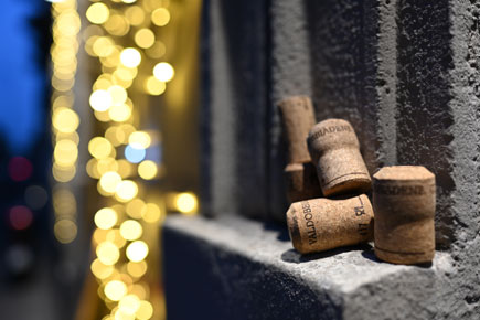 Photo of wine corks on a ledge, taken with the Z7 and NIKKOR Z 35mm f/1.8 S lens