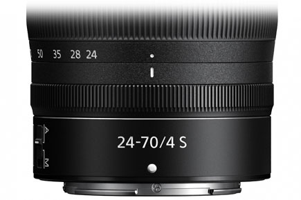 close up product photo of the NIKKOR Z 24-70mm f/4 S lens showing the control ring