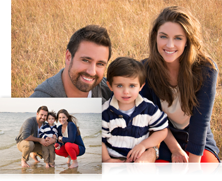 photo of mom, dad and young son at the beach and another photo of them in a field