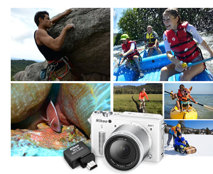 composite photo of a rock climber, rafters, a fish underwater, sledders, a biker and people in a canoe captured with the Nikon 1 AW1