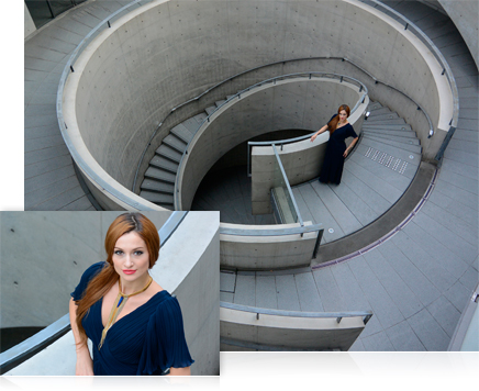 photo of a woman on a spiral staircase made of concrete and inset closeup portrait of woman