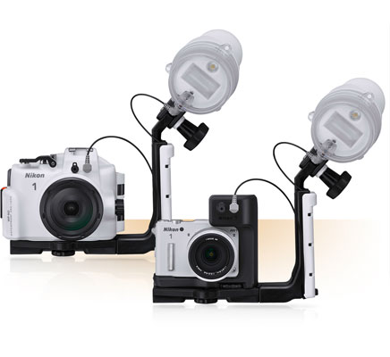 Photo of the WP-N3 and SB-N10 on a bracket and Nikon 1 AW1 and SB-N10 on a bracket