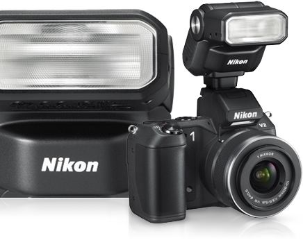 photo of the Nikon 1 V1 and V2 with the Nikon 1 SB-N7 Speedlight