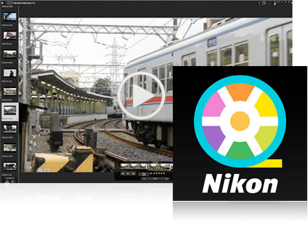 Screenshot of a train in the ViewNX-Movie Editor and the icon for the software inset